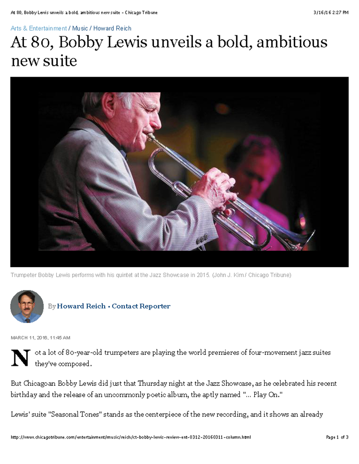 At 80, Bobby Lewis unveils a bold, ambitious new suite - Chicago Tribune Page 1