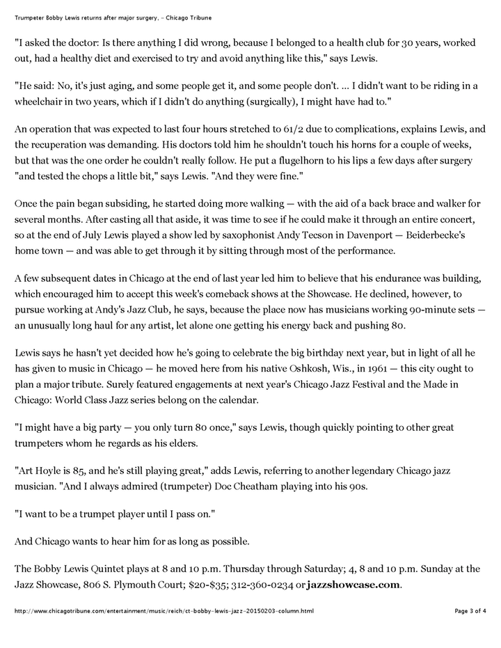 Trumpeter Bobby Lewis returns after major surgery, - Chicago Tribune Page 3 1