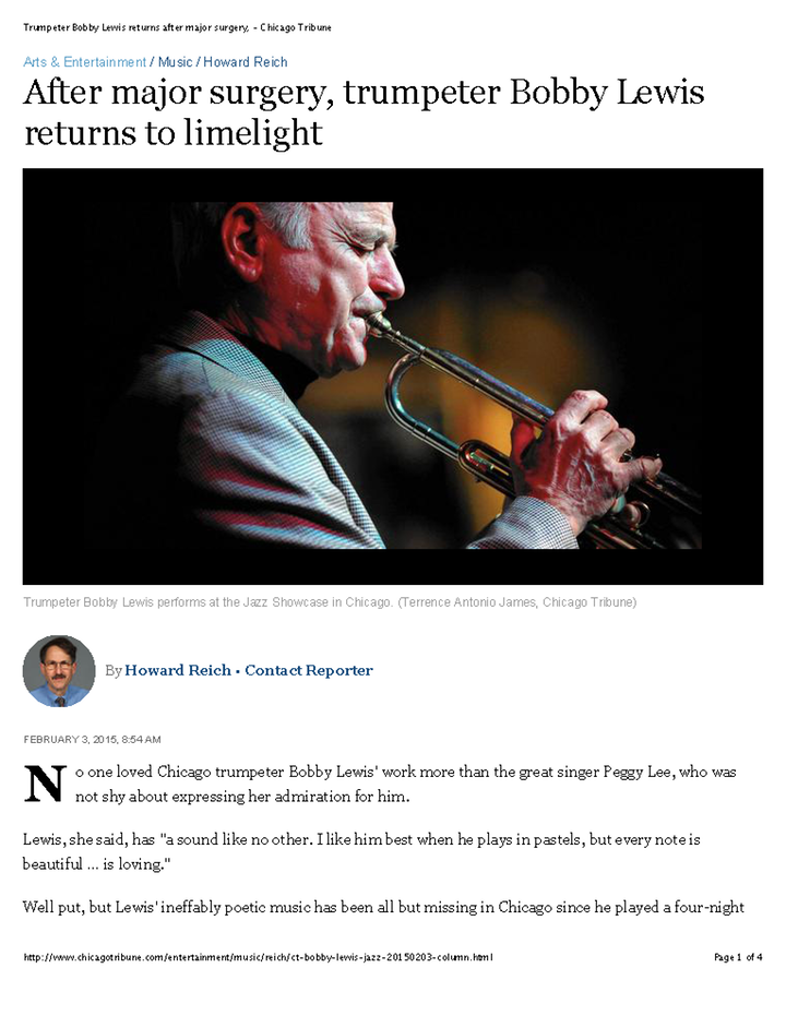 Trumpeter Bobby Lewis returns after major surgery, - Chicago Tribune Page 1 1